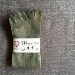 シルク [よもぎ染め×鉄] 五本指くつ下