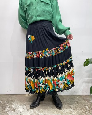 1980s MADE IN USA CAROLE LITTLE fruits × flower pattern rayon skirt【8】