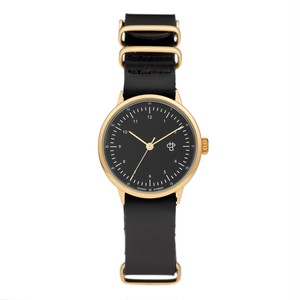 HAROLD MINI GOLD【CHPO】 Black dial. Black leather strap