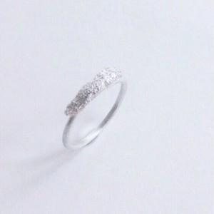 ヴァイオリンやヴィオラ弦を溶かし固めたシルバーリング Melted ring  (Line)  #1