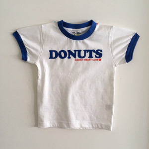 DONUTS Ringer Kids T-shirts (WHITE &BLUE) <Jr-S(110)>