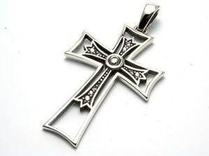 新品*ジルコニア*十字架クロスシルバー925ペンダントトップ*ペンダントヘッド*銀(チェーン別売)