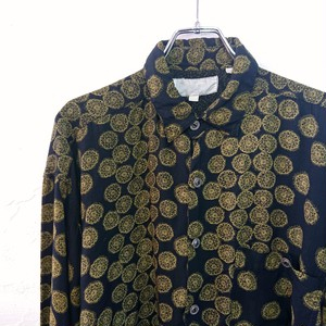 【USED】総柄プリント レーヨンシャツ ブラック×ライトグリーン