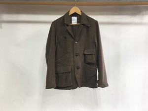 "H UNIT STORE LABEL""TWEED HANDS FREE JACKET BROWN"""