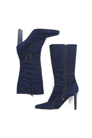 denim laceup  squaretoe long boots/ 1AWGD30-05