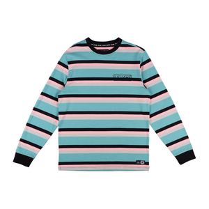 WELCOME Medius Stripe Yarn-Dyed Long Sleeve Knit - Dusty Teal