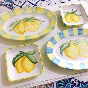 マヨリカ焼き オーバル皿とスクエア皿 ペアセット レモン柄