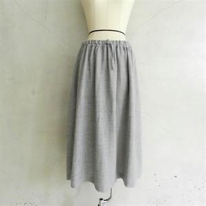 STAMP AND DIARY ウールリネンギャザースカート(ライトグレー)