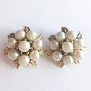 """""""Coro"""" pearl & flower earring[e-1373] ヴィンテージイヤリング"""