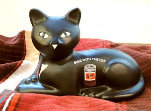 "80's ""Union Carbide Corporation"" Black Cat Coin Bank"