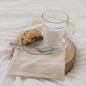blue lettering glass mug plate set / ブルーレタリング ガラス マグカップ プレート セット 韓国雑貨