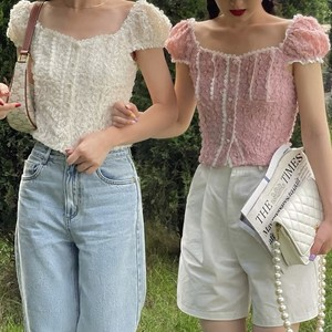 puff sleeve flower lace frill blouse 2c's