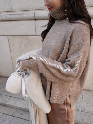 stitch design knit / beige (即納)