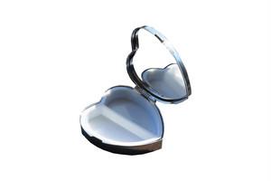 鏡付き携帯ピルケース  ハート型 シルバー SA-P739