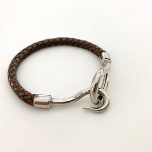 HERMES leather bracelet -JUNBO- mesh brown×gray