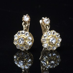 Victorian Rose-cut Diamond Cluster Earrings