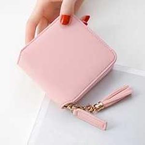 【ピンク】スクエア型 ミニ財布★正方形 タッセル付き N216