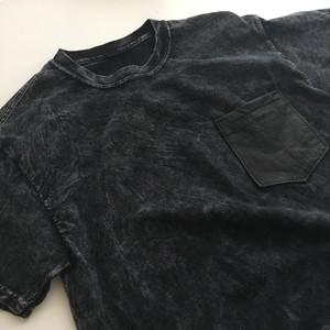 手染めウォッシュTシャツ / レザーポケット