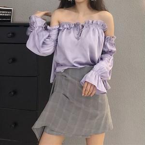 【お取り寄せ商品】off-shoulder puff sleeve shirt 6651