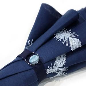 hane ふわふわ刺繍日傘 ブルー×白 47㎝