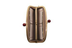 Atelier Kyoto Nishijin/西陣織シルク・がま口長財布・京組紐ストラップ付・ギンガムチェック・ブラウン・日本製