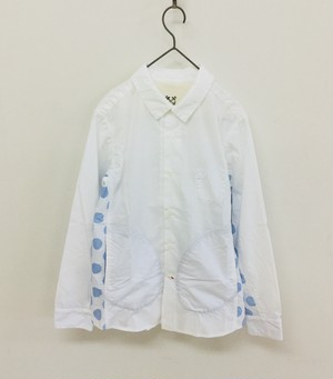30%OFF【快晴堂】水玉脇きりかえUNIシャツ/81S-03G