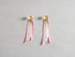 羽・翼風リボンピアス・イヤリング(ピンク)