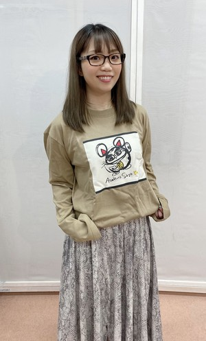「Ms.招き猫★ロングTシャツ」サンドカーキ【XLサイズ】