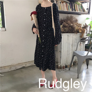 シック ガーリー  ロング ワンピース 韓国ファッション