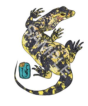 日本画風爬虫類ステッカー・サルバトールモニター