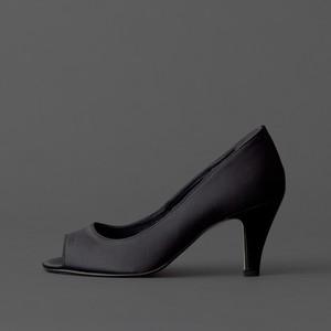 Satin / Open Toe / 7cm / BK 【7003 BK】