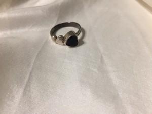 【18号】 Vintage 925 silver × ♡ onix ring ( ヴィンテージ  シルバー × オニキス ハート リング )