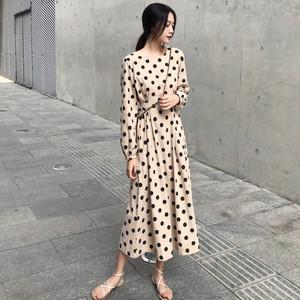 【ワンピース】ファッションAライン小柄ラウンドネックロングデートワンピース23179246