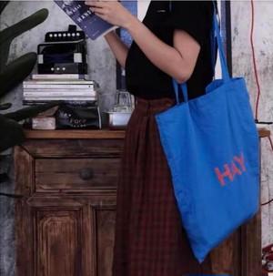 HAY トートバッグ レア柄 ブルー ロゴ赤