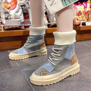 【shoes】タイ配色好感度アップレディースブーティー 23161803