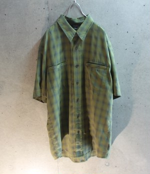 Short sleeve yellow check double pocket shirt