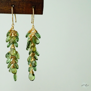Green Apatite Cluster Earrings/14KGF