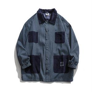 【UNISEX】ストライプ ビックポケット カジュアル シャツ ジャケット