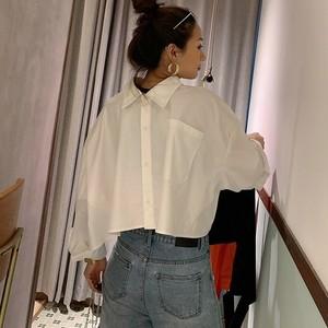 【送料無料】P6140 シャツ 長袖シャツ ショート丈 2way オーバーサイズ 個性的 お洒落 韓国ファッション 無地 白 ホワイト