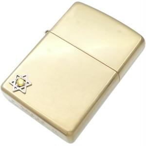 イエローC Z ヘキサグラム 六芒星 ブラスジッポ*BZ-1050