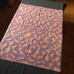 アマゾンの刺繍大判シピボ族の刺繍タペストリー 13 水色と赤AAA