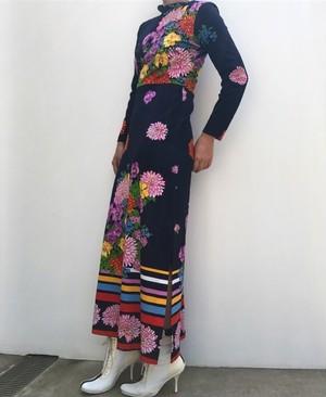 Desiners 70s ITALY oriental maxi dress