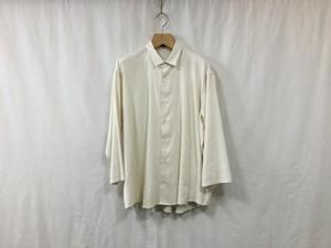 """semoh""""3/4 sleeve wide shirt silk/linen white"""""""