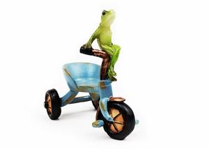 カエルオブジェ アンティーク調三輪車と蛙 sbssnk-1909