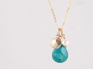 14KGF Drop Shell Necklace BL
