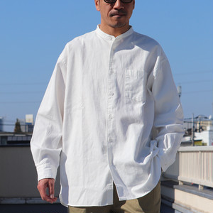 6oz Oxford Band Collar L/S Box-A Line Shirts White