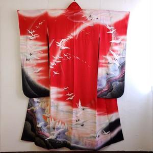 正絹 振り袖 赤地 鶴の舞い