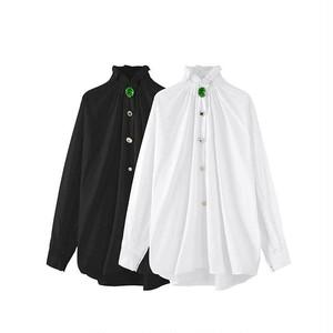 ビンテージビジューボタンネックフリルシャツ(White,Black) 69