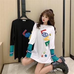 【トップス】シンプル長袖ラウンドネックプルオーバーTシャツ50991364