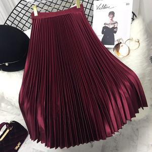 【再入荷】全6色光沢アコーディオンプリーツスカート